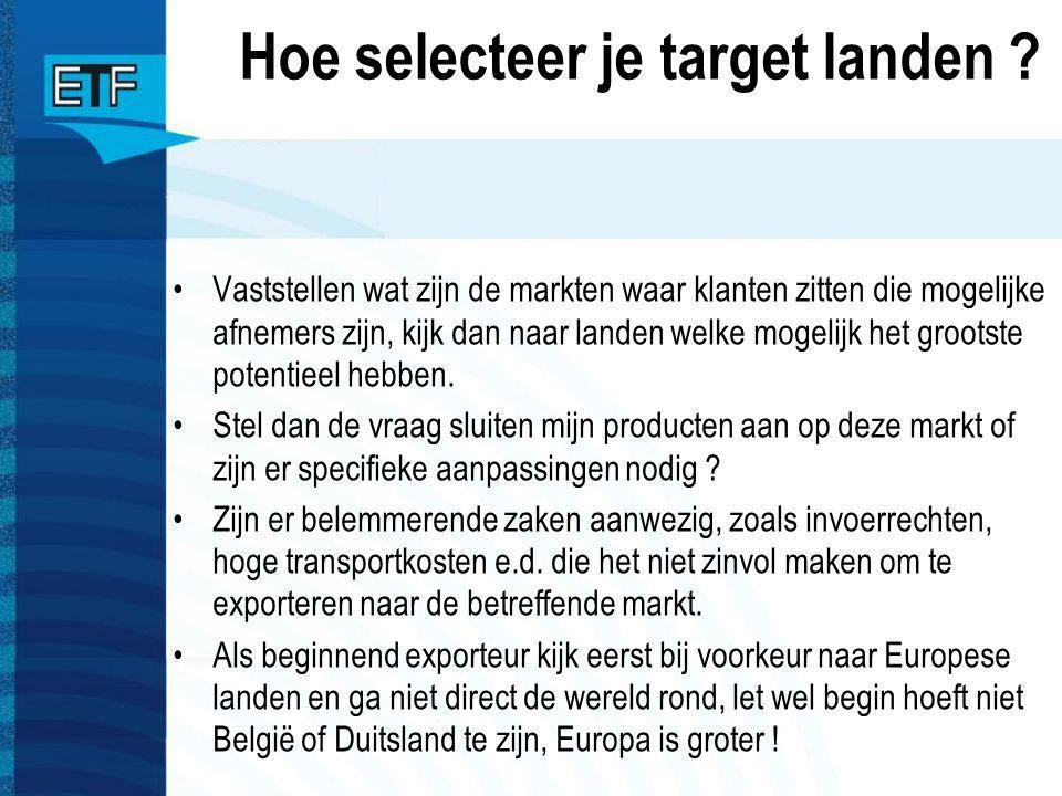 Hoe selecteer je target landen