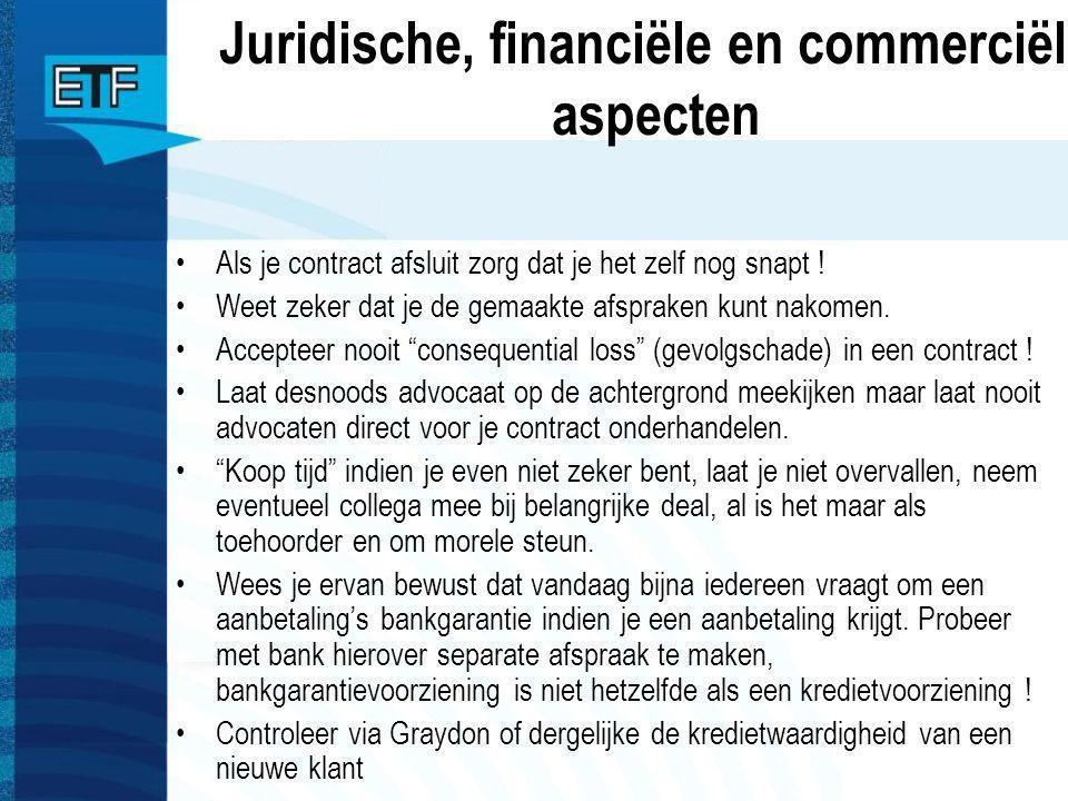 Juridische, financiële en commerciële aspecten