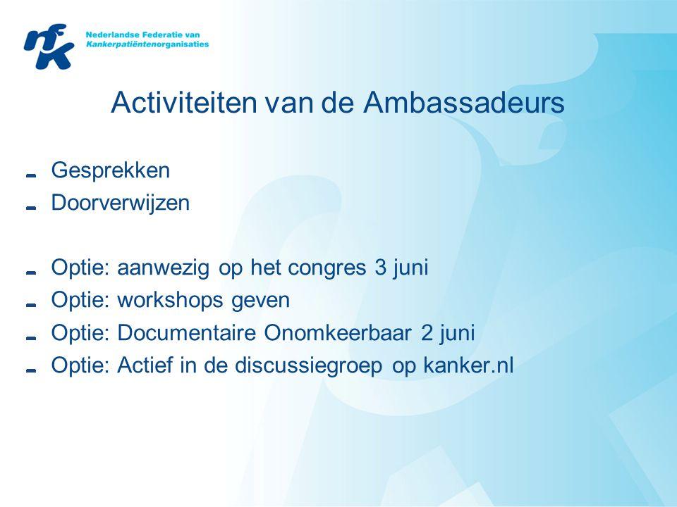 Activiteiten van de Ambassadeurs