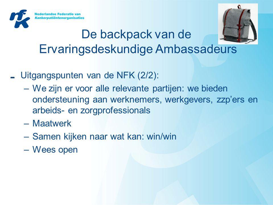 De backpack van de Ervaringsdeskundige Ambassadeurs