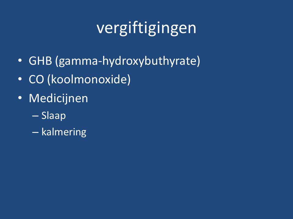 vergiftigingen GHB (gamma-hydroxybuthyrate) CO (koolmonoxide)