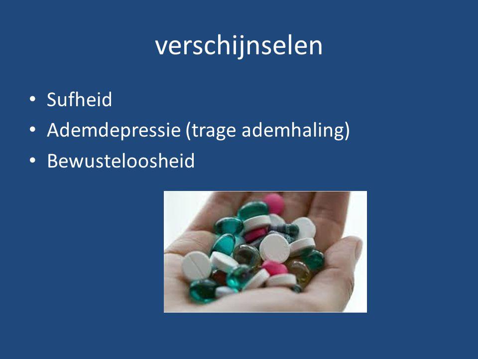 verschijnselen Sufheid Ademdepressie (trage ademhaling)