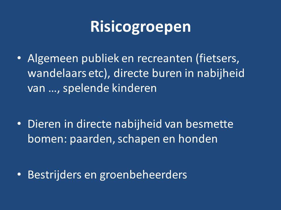 Risicogroepen Algemeen publiek en recreanten (fietsers, wandelaars etc), directe buren in nabijheid van …, spelende kinderen.