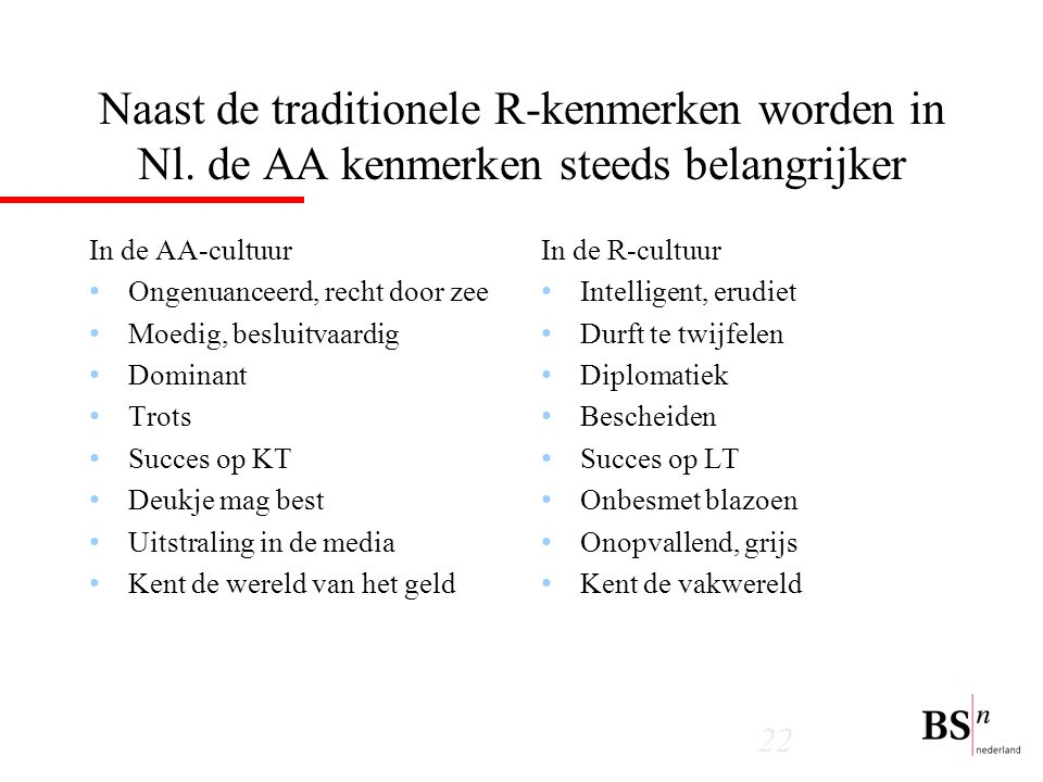 Naast de traditionele R-kenmerken worden in Nl