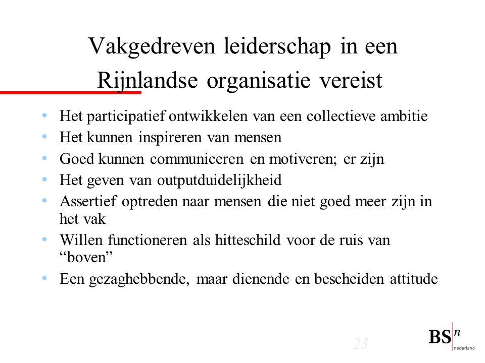 Vakgedreven leiderschap in een Rijnlandse organisatie vereist