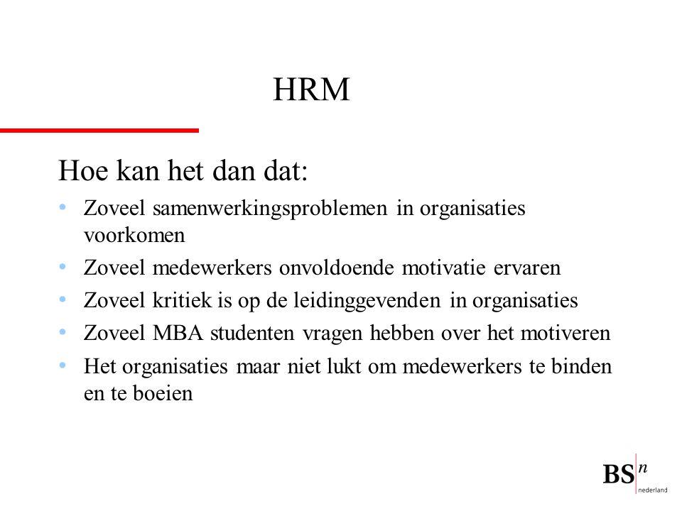 HRM Hoe kan het dan dat: Zoveel samenwerkingsproblemen in organisaties voorkomen. Zoveel medewerkers onvoldoende motivatie ervaren.