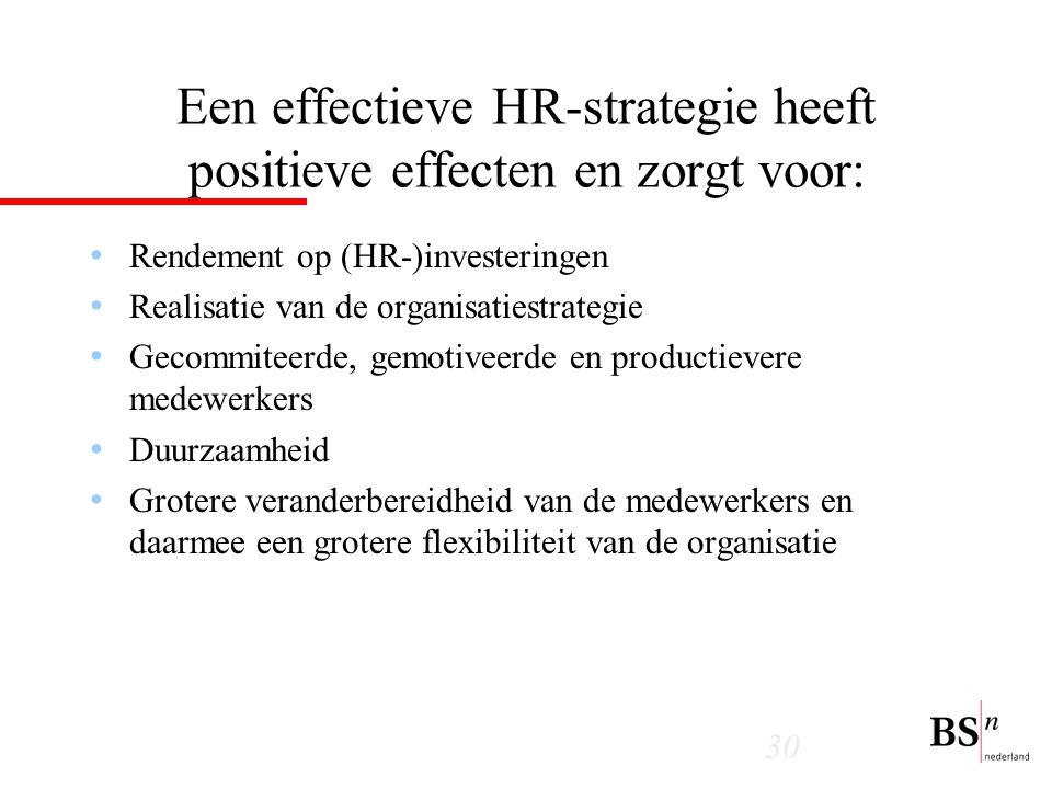 Een effectieve HR-strategie heeft positieve effecten en zorgt voor: