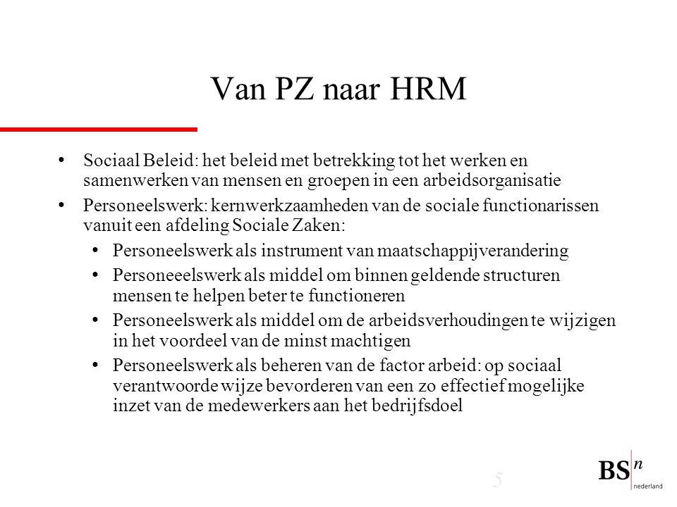 Van PZ naar HRM Sociaal Beleid: het beleid met betrekking tot het werken en samenwerken van mensen en groepen in een arbeidsorganisatie.