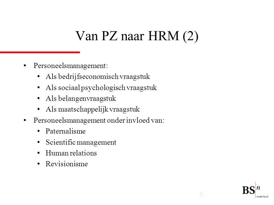 Van PZ naar HRM (2) Personeelsmanagement: