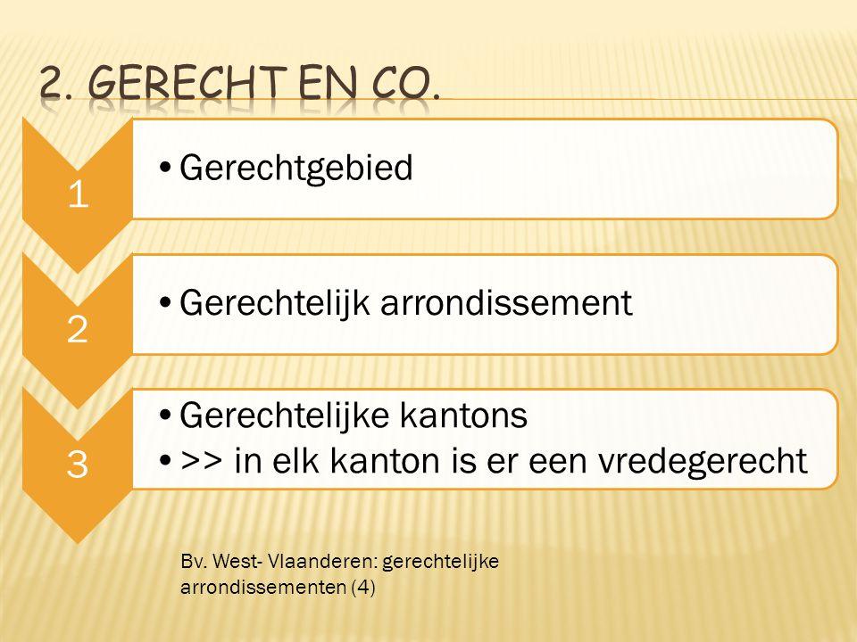 2. Gerecht en CO. 1. Gerechtgebied. 2. Gerechtelijk arrondissement. 3. Gerechtelijke kantons. >> in elk kanton is er een vredegerecht.