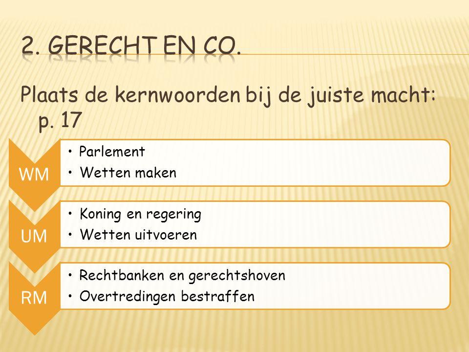 2. Gerecht en CO. Plaats de kernwoorden bij de juiste macht: p. 17 WM