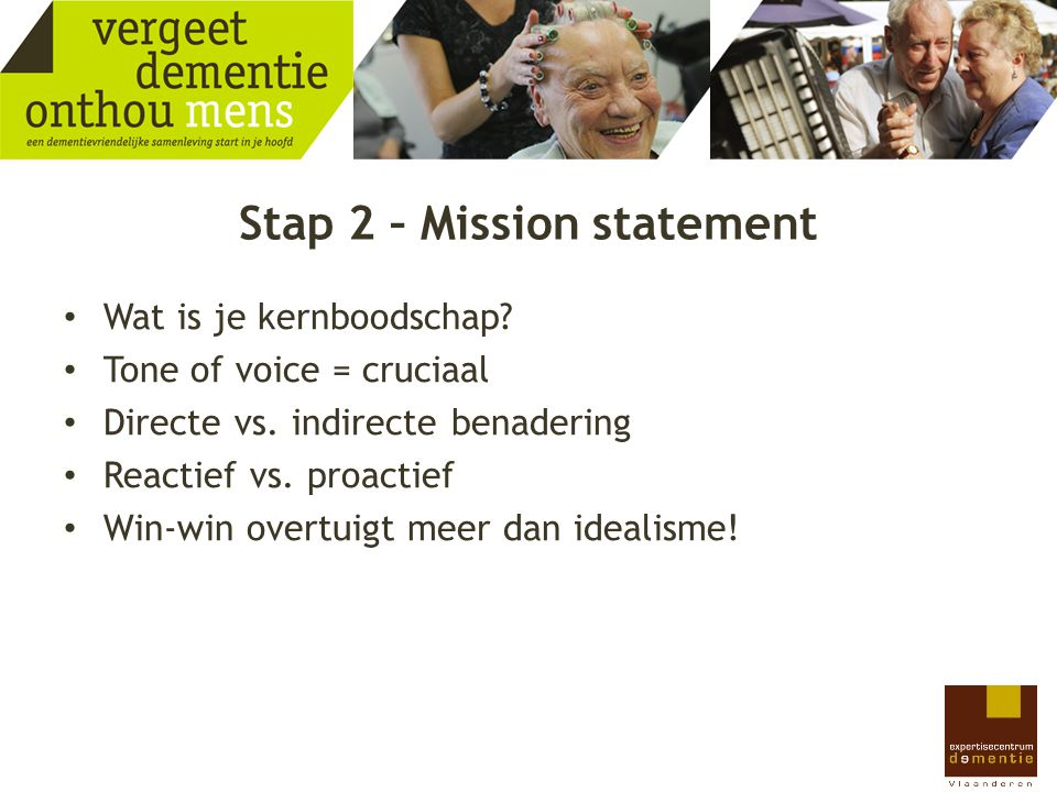 Stap 2 – Mission statement