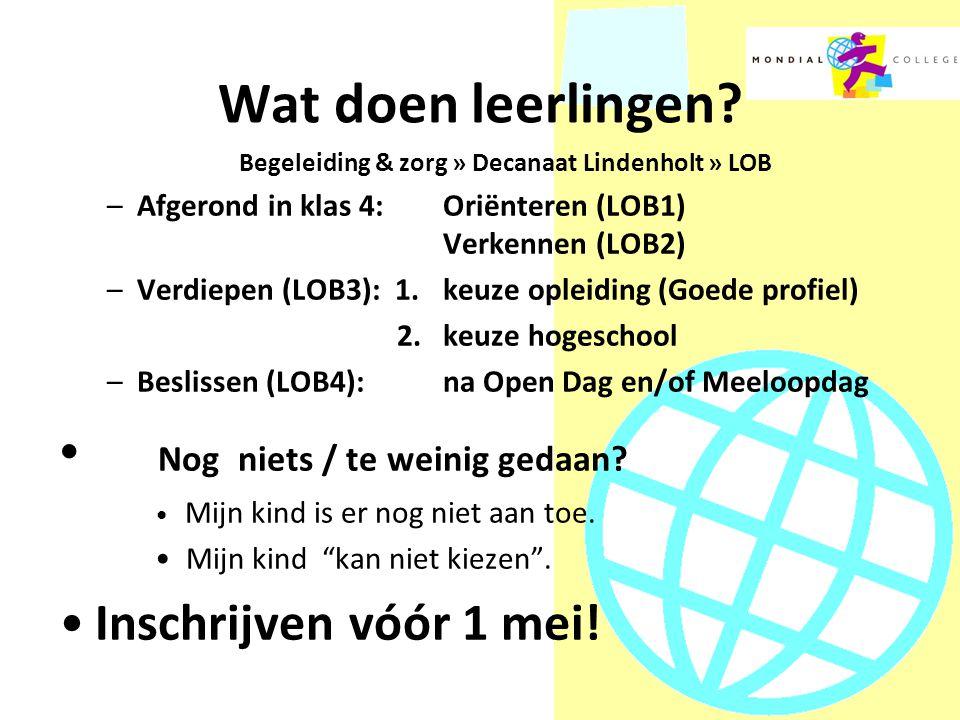 Begeleiding & zorg » Decanaat Lindenholt » LOB