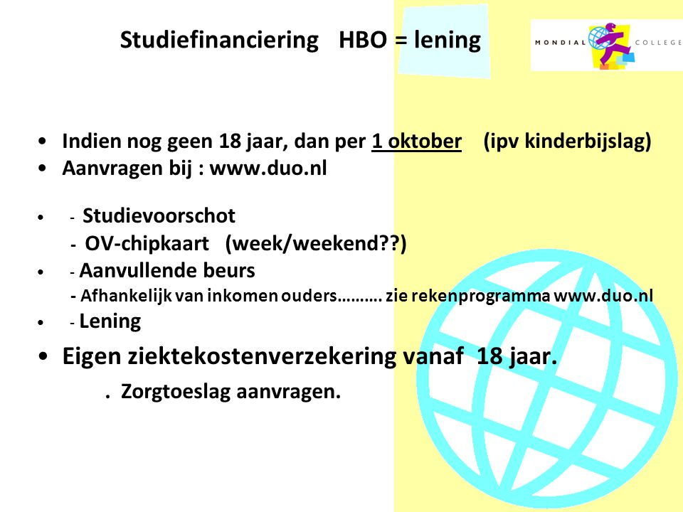 Studiefinanciering HBO = lening