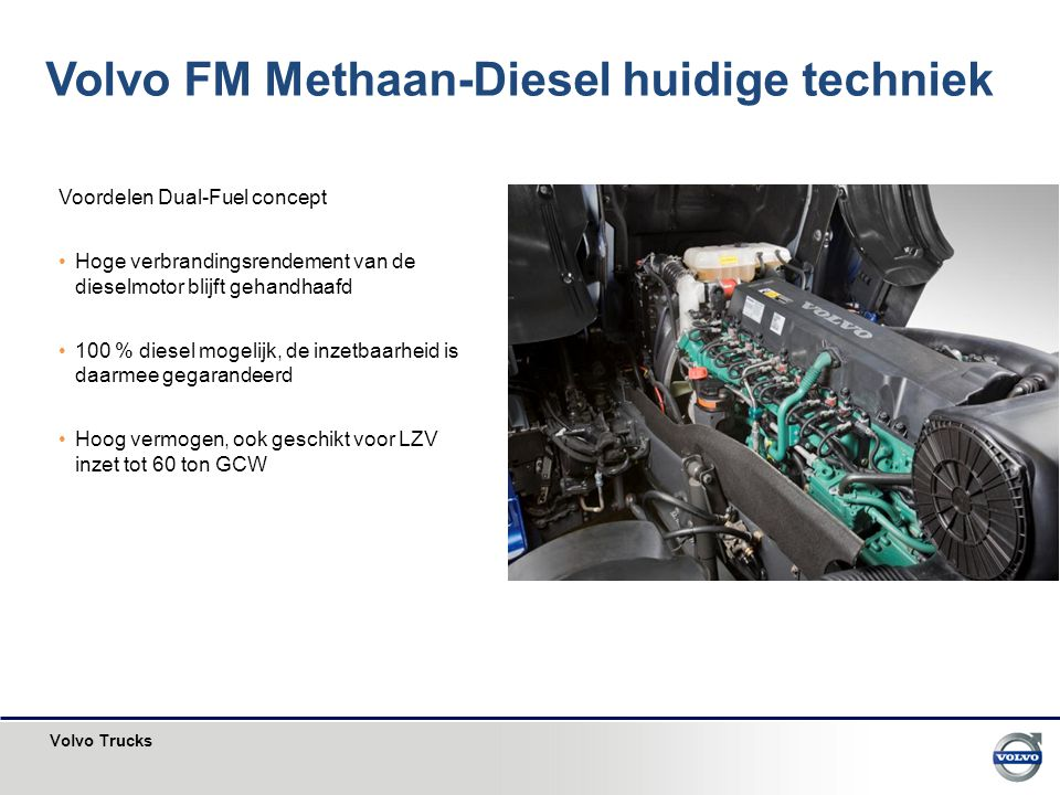 Volvo FM Methaan-Diesel huidige techniek