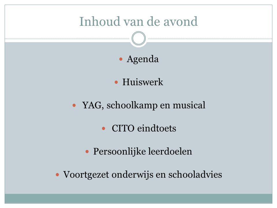 Inhoud van de avond Agenda Huiswerk YAG, schoolkamp en musical
