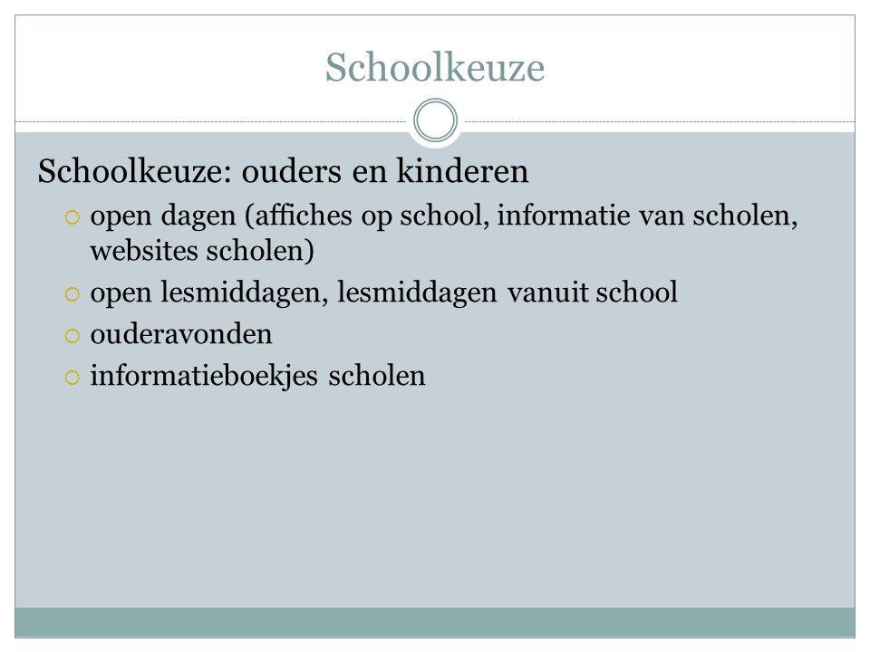 Schoolkeuze Schoolkeuze: ouders en kinderen