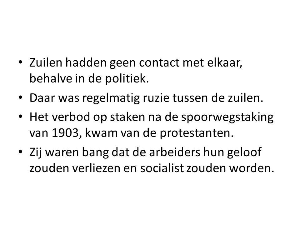 Zuilen hadden geen contact met elkaar, behalve in de politiek.