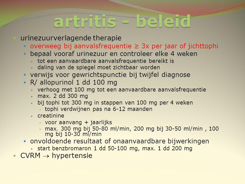 artritis - beleid urinezuurverlagende therapie CVRM  hypertensie