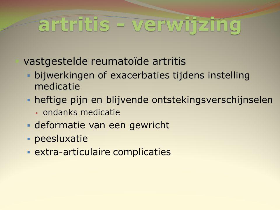 artritis - verwijzing vastgestelde reumatoïde artritis
