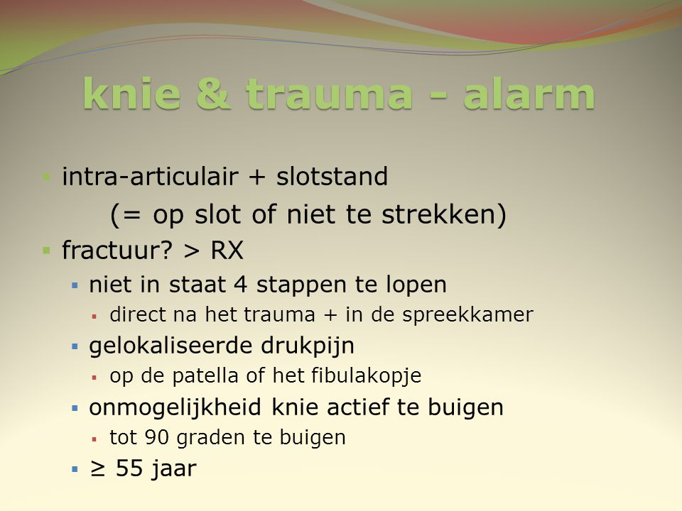 knie & trauma - alarm intra-articulair + slotstand