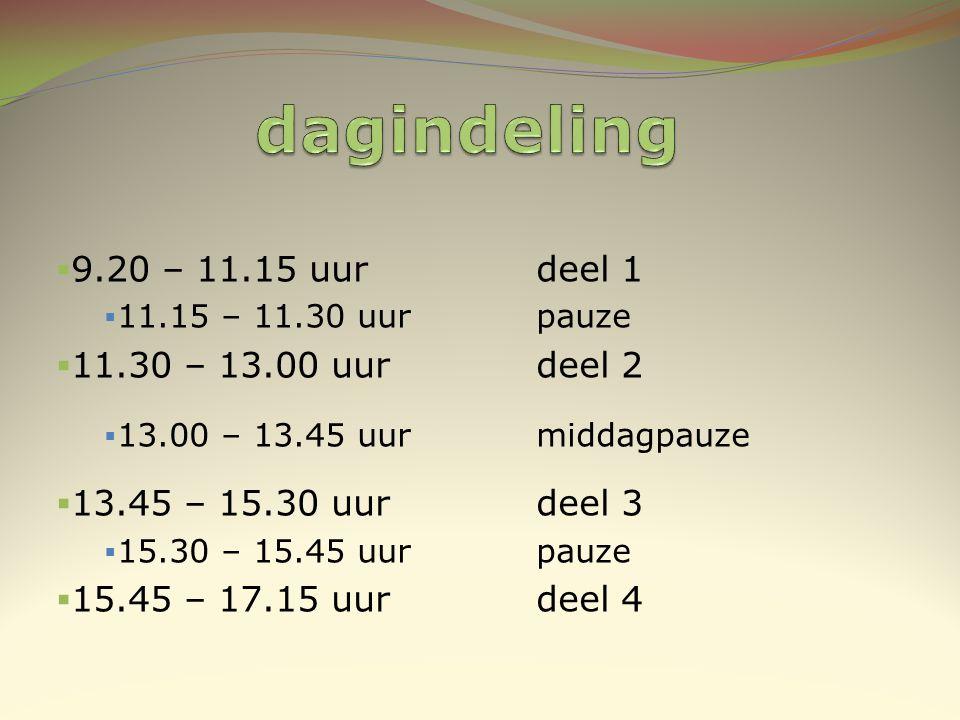 dagindeling 9.20 – 11.15 uur deel 1 11.30 – 13.00 uur deel 2