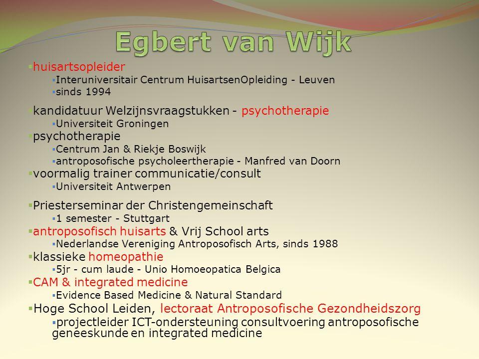 Egbert van Wijk huisartsopleider. Interuniversitair Centrum HuisartsenOpleiding - Leuven. sinds 1994.