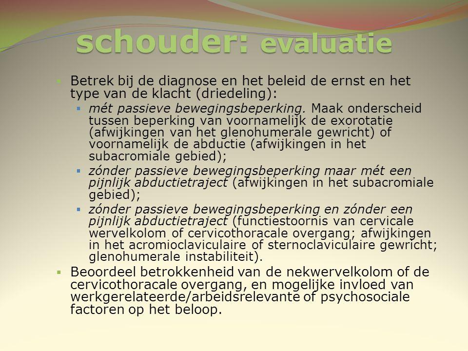 schouder: evaluatie Betrek bij de diagnose en het beleid de ernst en het type van de klacht (driedeling):