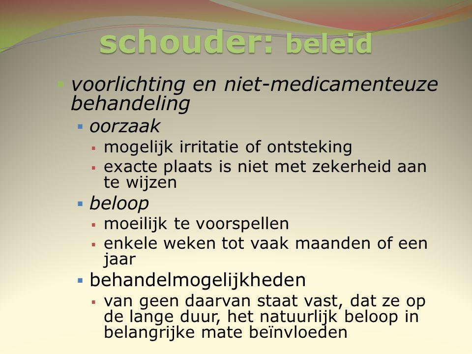 schouder: beleid voorlichting en niet-medicamenteuze behandeling