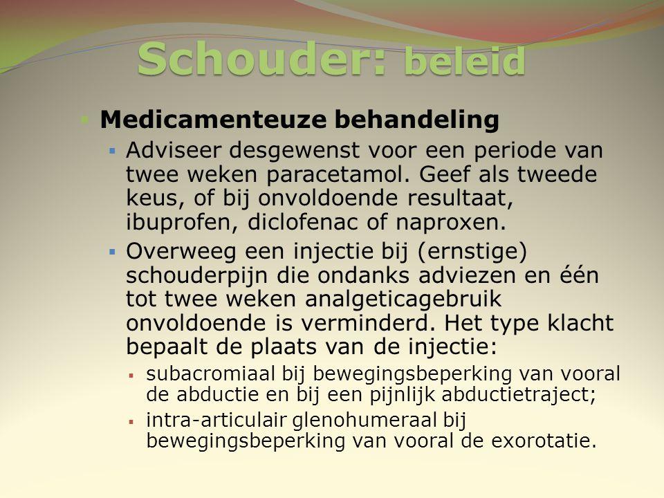 Schouder: beleid Medicamenteuze behandeling