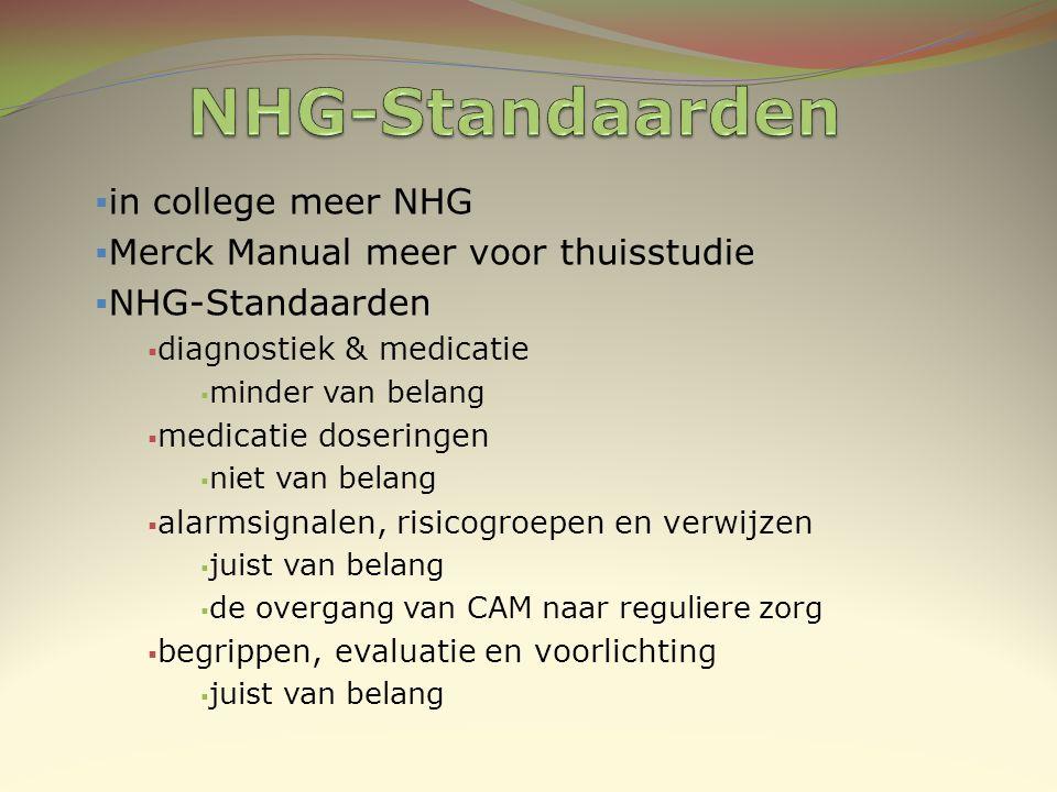 NHG-Standaarden in college meer NHG Merck Manual meer voor thuisstudie