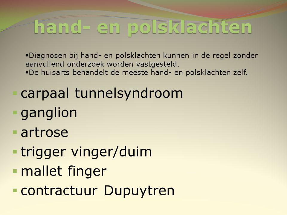 carpaal tunnelsyndroom ganglion artrose trigger vinger/duim