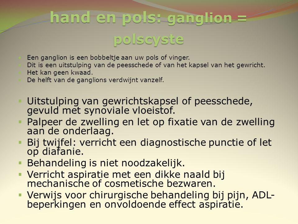 hand en pols: ganglion = polscyste