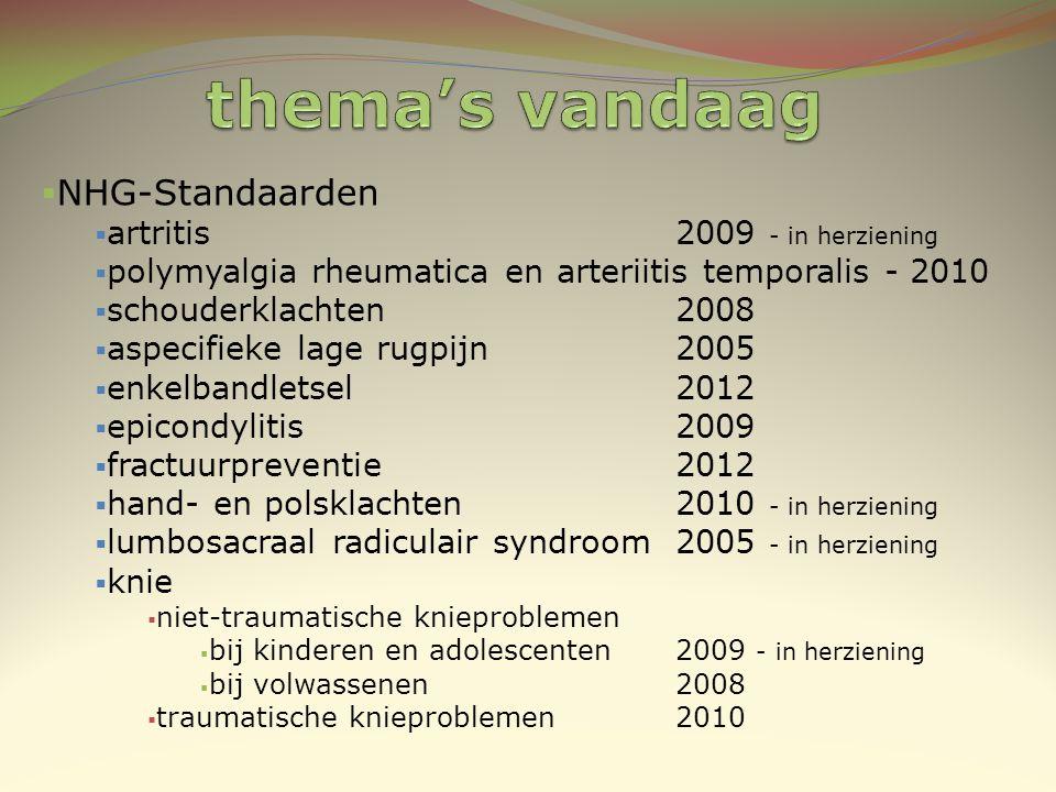 thema's vandaag NHG-Standaarden artritis 2009 - in herziening
