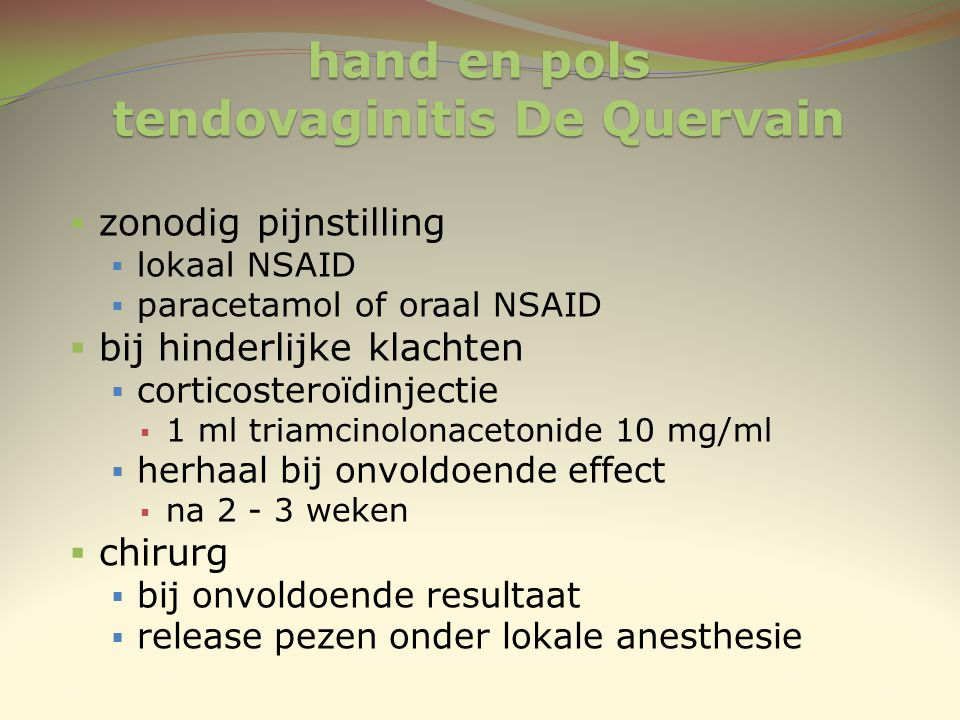 hand en pols tendovaginitis De Quervain