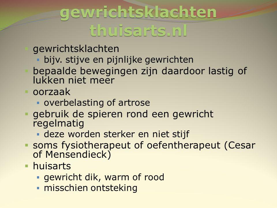 gewrichtsklachten thuisarts.nl