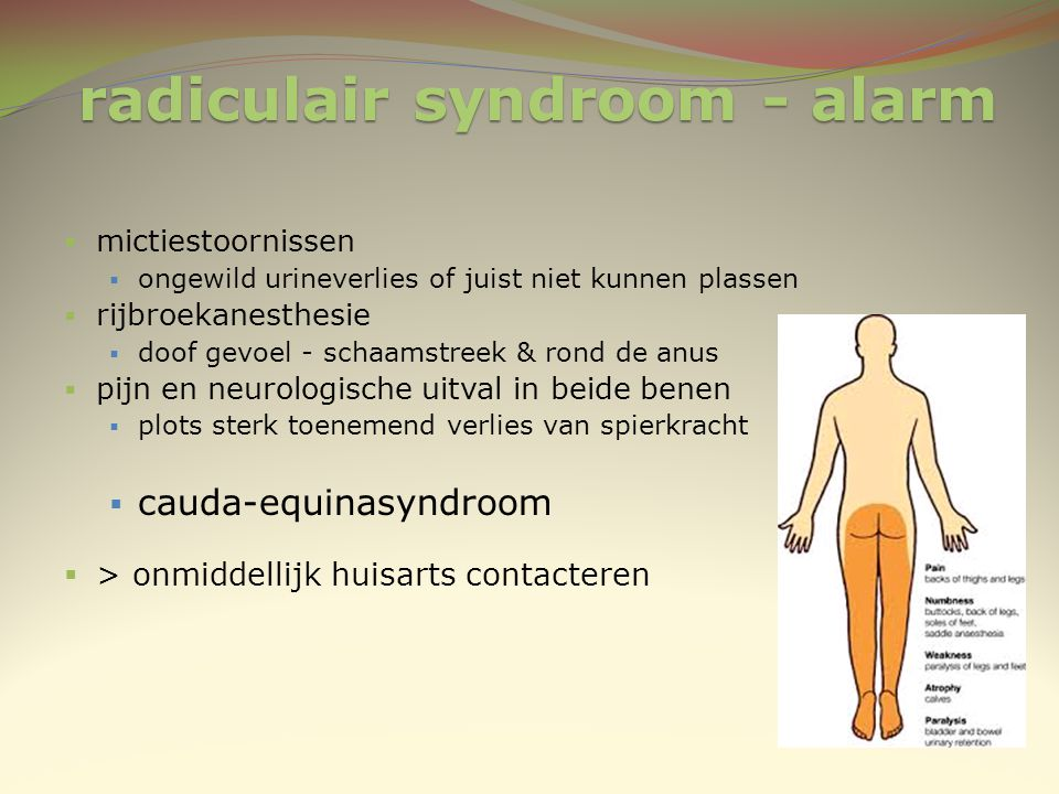 radiculair syndroom - alarm