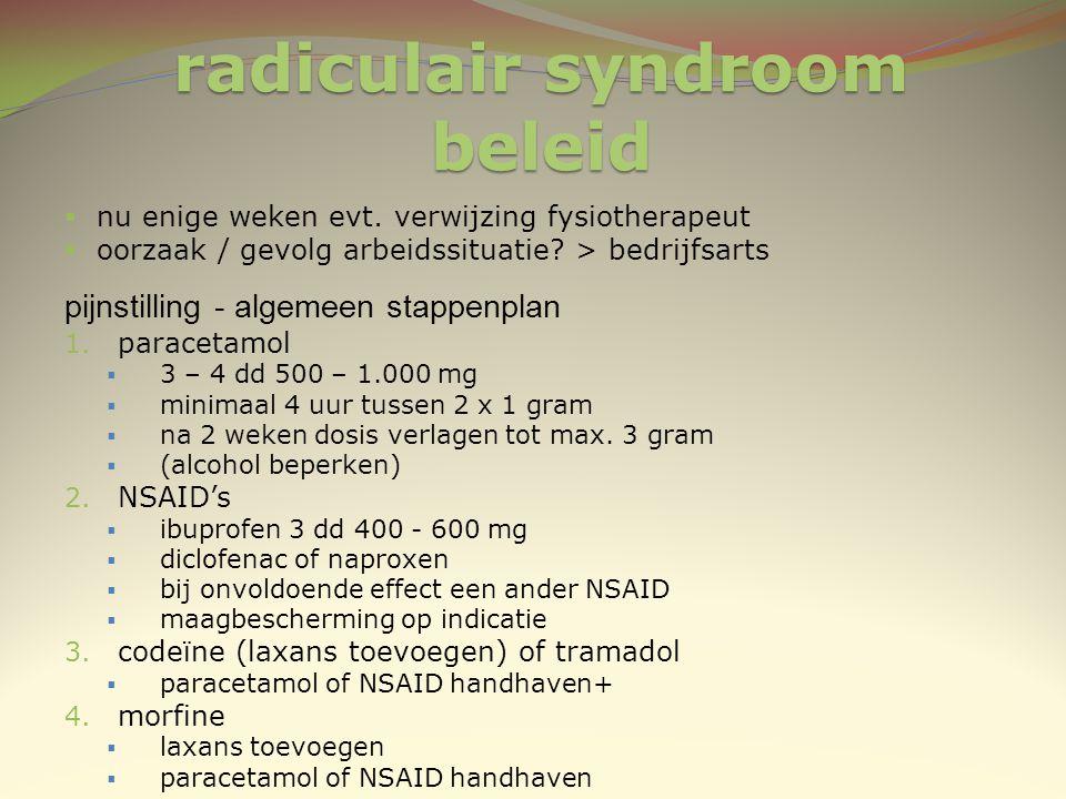 radiculair syndroom beleid