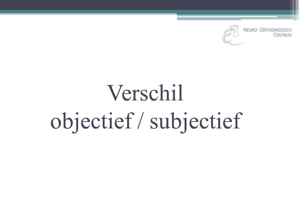 Verschil objectief / subjectief
