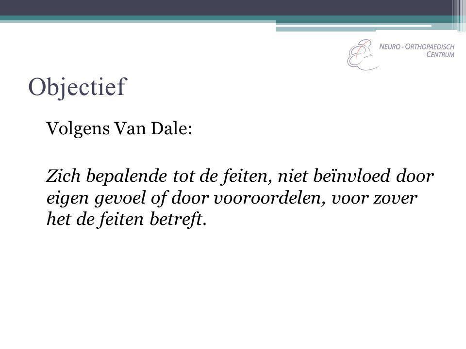 Objectief Volgens Van Dale: