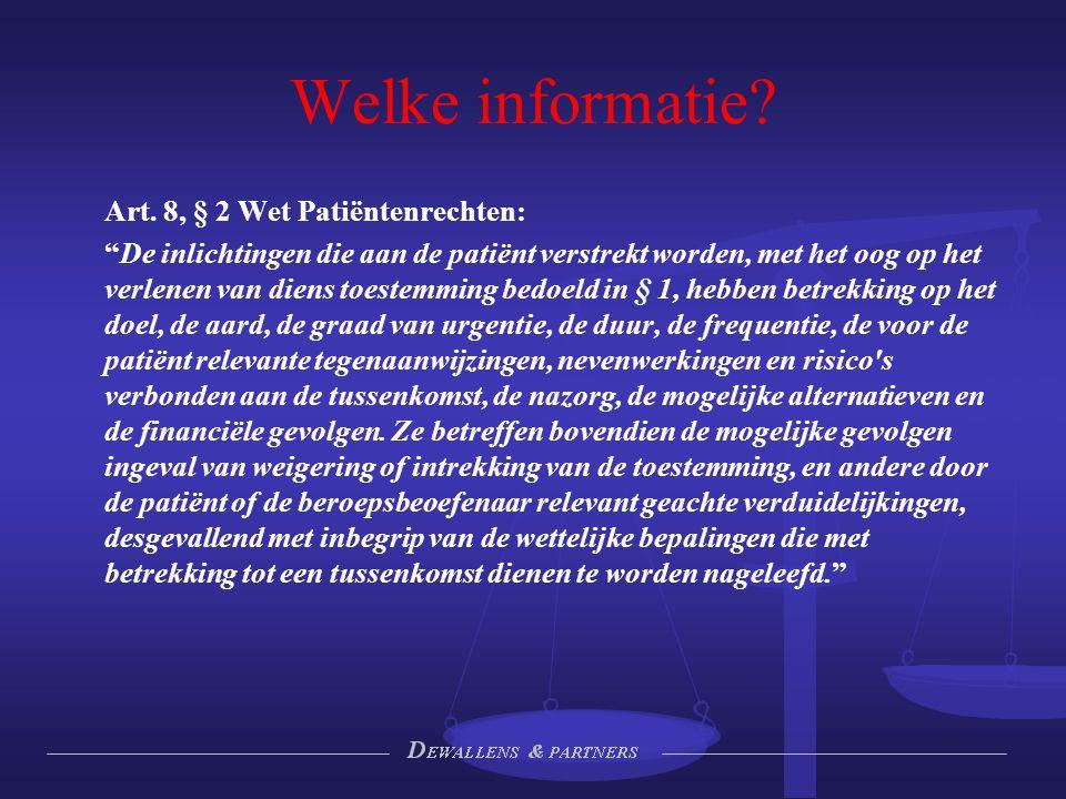 Welke informatie Art. 8, § 2 Wet Patiëntenrechten: