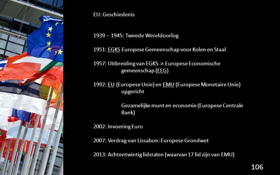 EU: Geschiedenis 1939 – 1945: Tweede Wereldoorlog. 1951: EGKS Europese Gemeenschap voor Kolen en Staal.