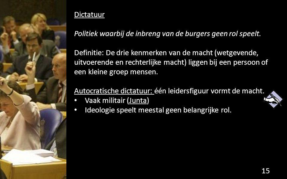 Dictatuur Politiek waarbij de inbreng van de burgers geen rol speelt.