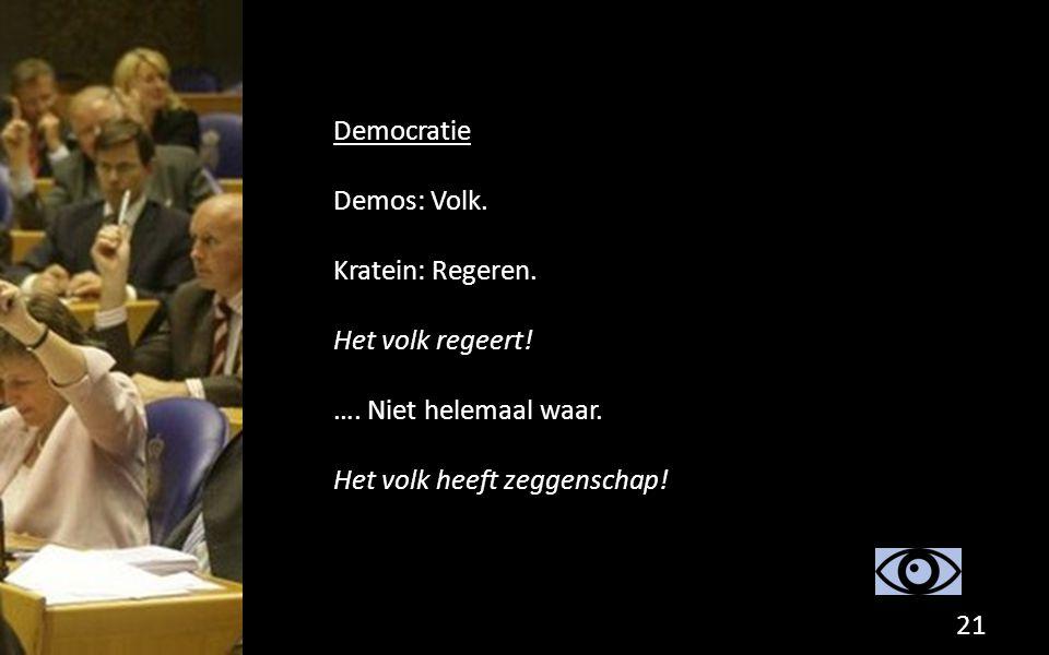 Democratie Demos: Volk. Kratein: Regeren. Het volk regeert.