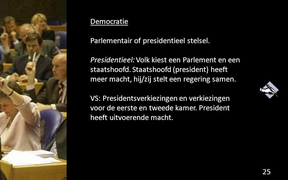 Democratie Parlementair of presidentieel stelsel.