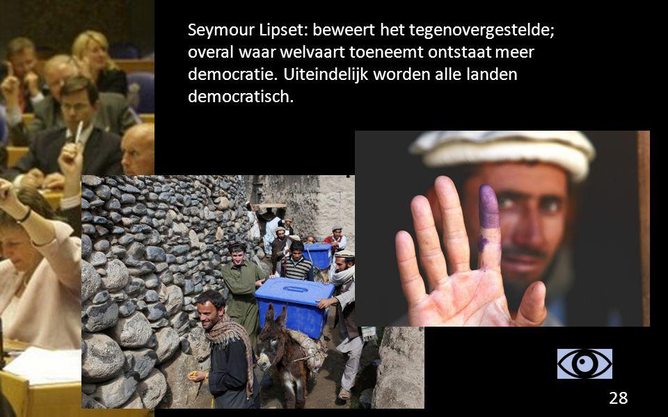 Seymour Lipset: beweert het tegenovergestelde; overal waar welvaart toeneemt ontstaat meer democratie.