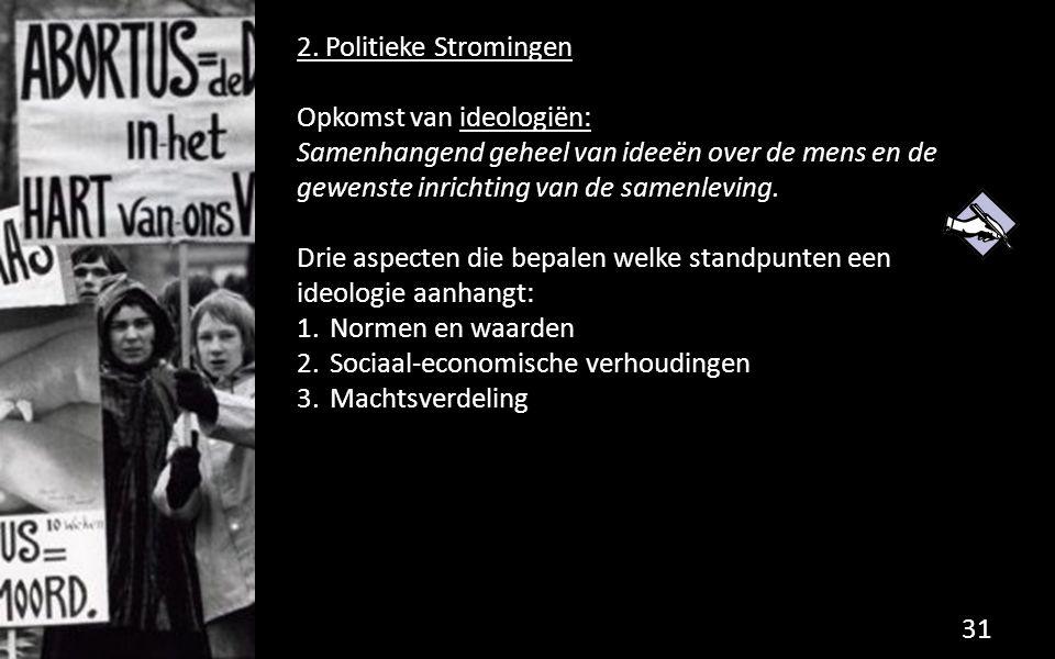 2. Politieke Stromingen Opkomst van ideologiën: Samenhangend geheel van ideeën over de mens en de gewenste inrichting van de samenleving.