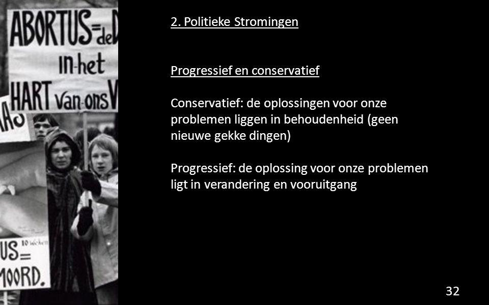 2. Politieke Stromingen Progressief en conservatief.