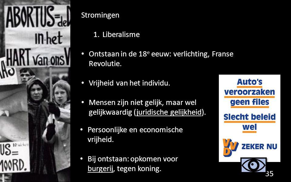 Stromingen Liberalisme. Ontstaan in de 18e eeuw: verlichting, Franse Revolutie. Vrijheid van het individu.