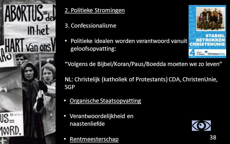 2. Politieke Stromingen 3. Confessionalisme. Politieke idealen worden verantwoord vanuit geloofsopvatting: